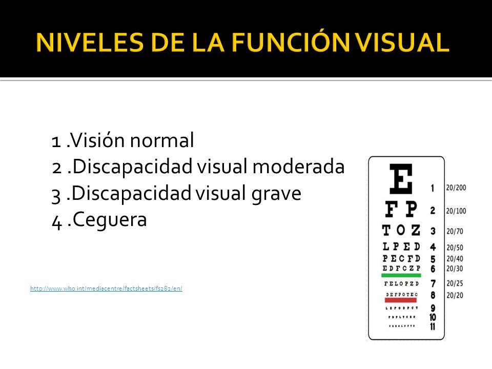 1.Visión normal 2.Discapacidad visual moderada 3.Discapacidad visual grave 4.Ceguera http://www.who.int/mediacentre/factsheets/fs282/en/