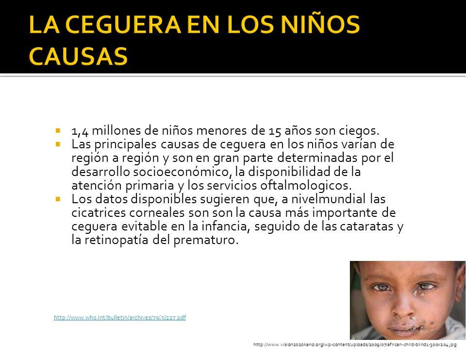 1,4 millones de niños menores de 15 años son ciegos. Las principales causas de ceguera en los niños varían de región a región y son en gran parte dete