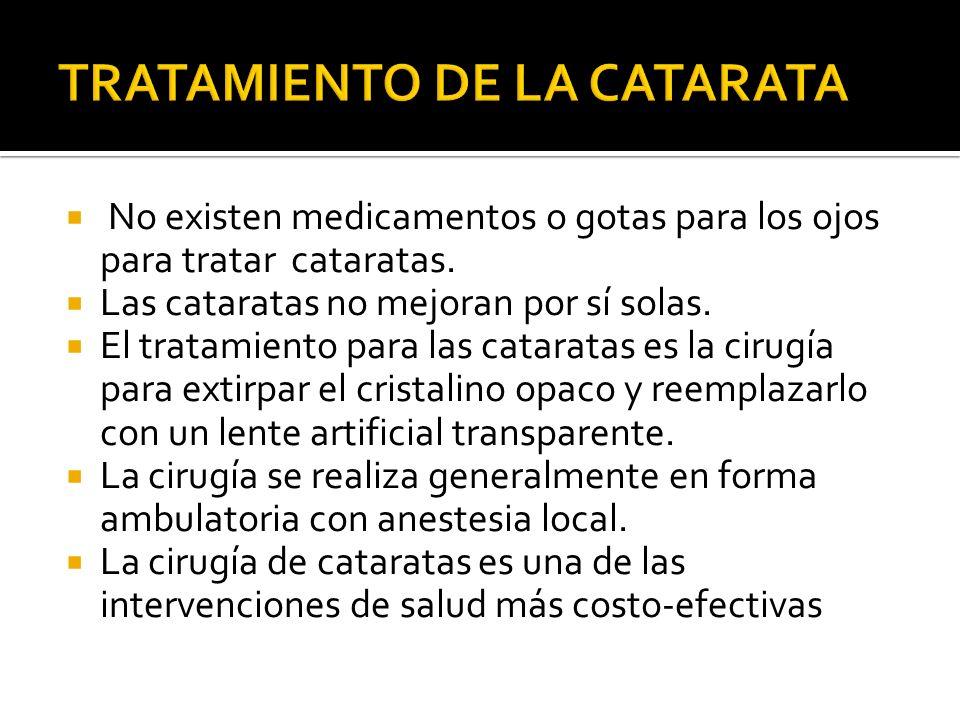 No existen medicamentos o gotas para los ojos para tratar cataratas. Las cataratas no mejoran por sí solas. El tratamiento para las cataratas es la ci