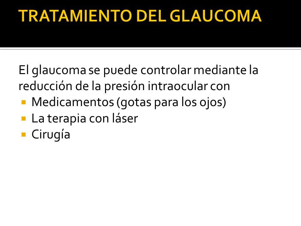 El glaucoma se puede controlar mediante la reducción de la presión intraocular con Medicamentos (gotas para los ojos) La terapia con láser Cirugía