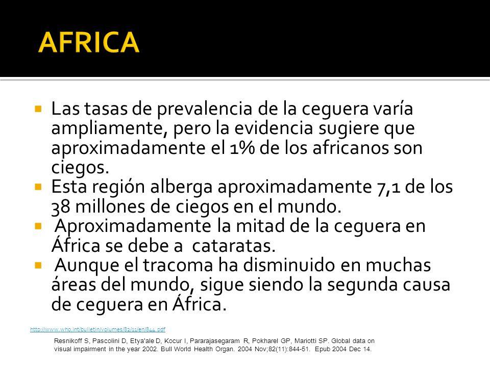 Las tasas de prevalencia de la ceguera varía ampliamente, pero la evidencia sugiere que aproximadamente el 1% de los africanos son ciegos. Esta región
