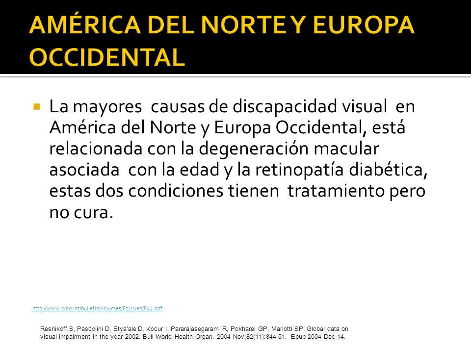 La mayores causas de discapacidad visual en América del Norte y Europa Occidental, está relacionada con la degeneración macular asociada con la edad y