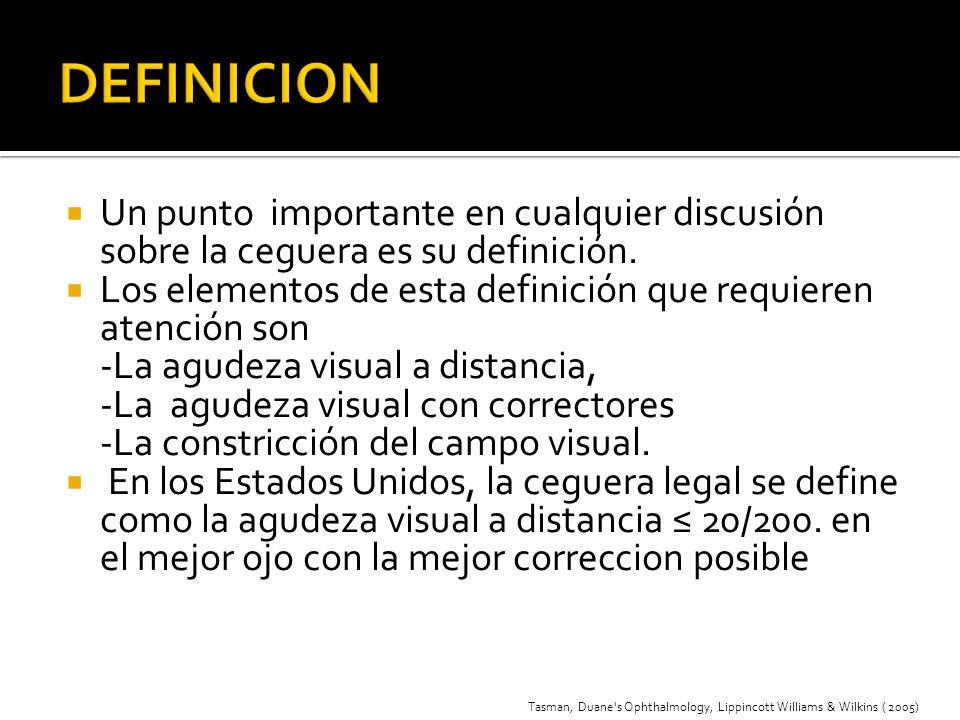 Un punto importante en cualquier discusión sobre la ceguera es su definición. Los elementos de esta definición que requieren atención son -La agudeza
