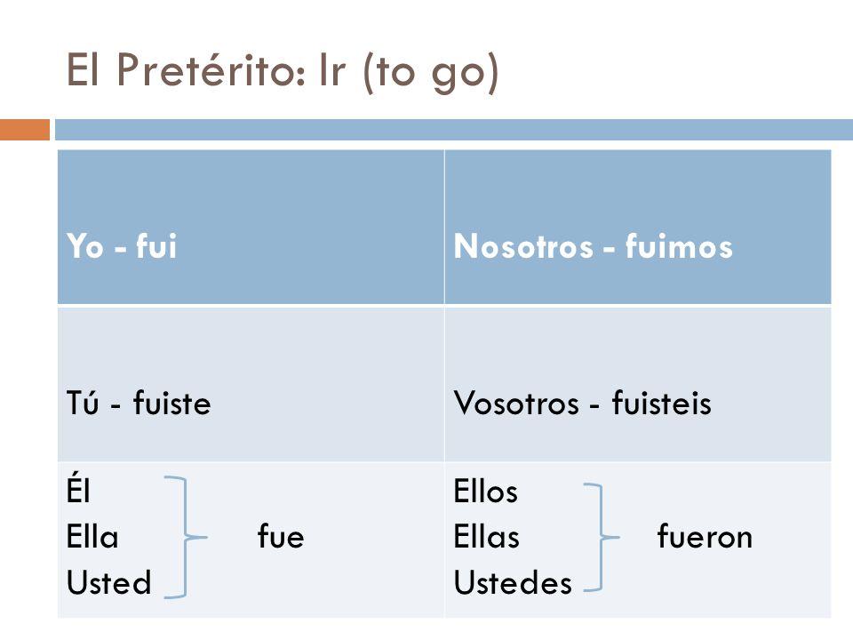 El Pretérito: Ir (to go) Yo - fuiNosotros - fuimos Tú - fuisteVosotros - fuisteis Él Ella fue Usted Ellos Ellas fueron Ustedes