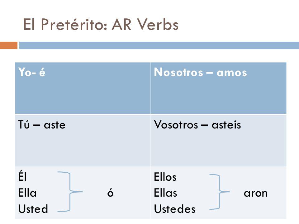 El Pretérito: AR Verbs Yo- éNosotros – amos Tú – asteVosotros – asteis Él Ella ó Usted Ellos Ellas aron Ustedes