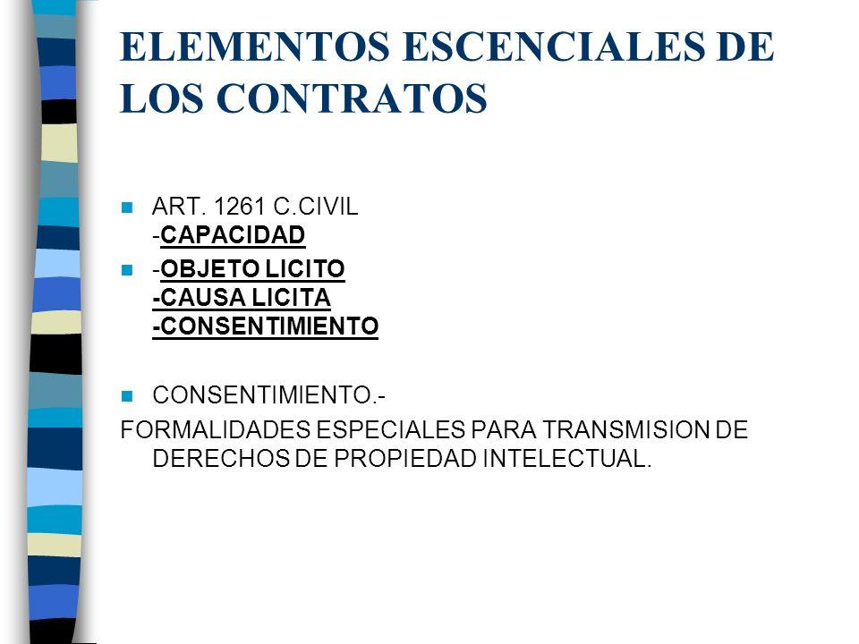 ELEMENTOS ESCENCIALES DE LOS CONTRATOS ART. 1261 C.CIVIL -CAPACIDAD -OBJETO LICITO -CAUSA LICITA -CONSENTIMIENTO CONSENTIMIENTO.- FORMALIDADES ESPECIA
