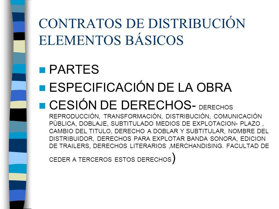 CONTRATOS DE DISTRIBUCIÓN ELEMENTOS BÁSICOS PARTES ESPECIFICACIÓN DE LA OBRA CESIÓN DE DERECHOS- DERECHOS REPRODUCCIÓN, TRANSFORMACIÓN, DISTRIBUCIÓN,
