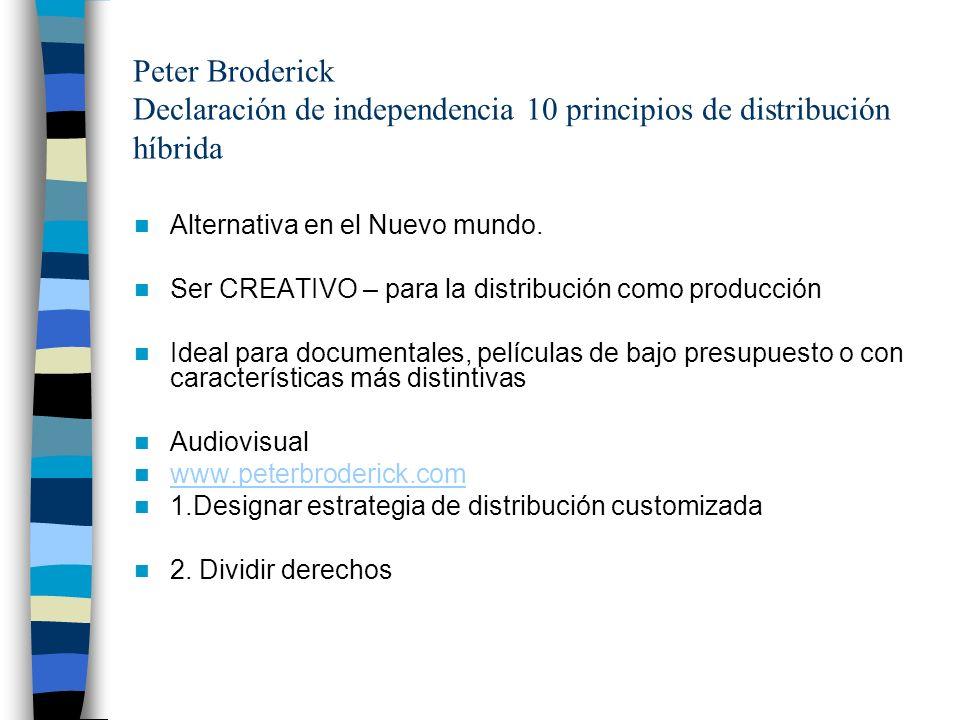 Peter Broderick Declaración de independencia 10 principios de distribución híbrida Alternativa en el Nuevo mundo. Ser CREATIVO – para la distribución