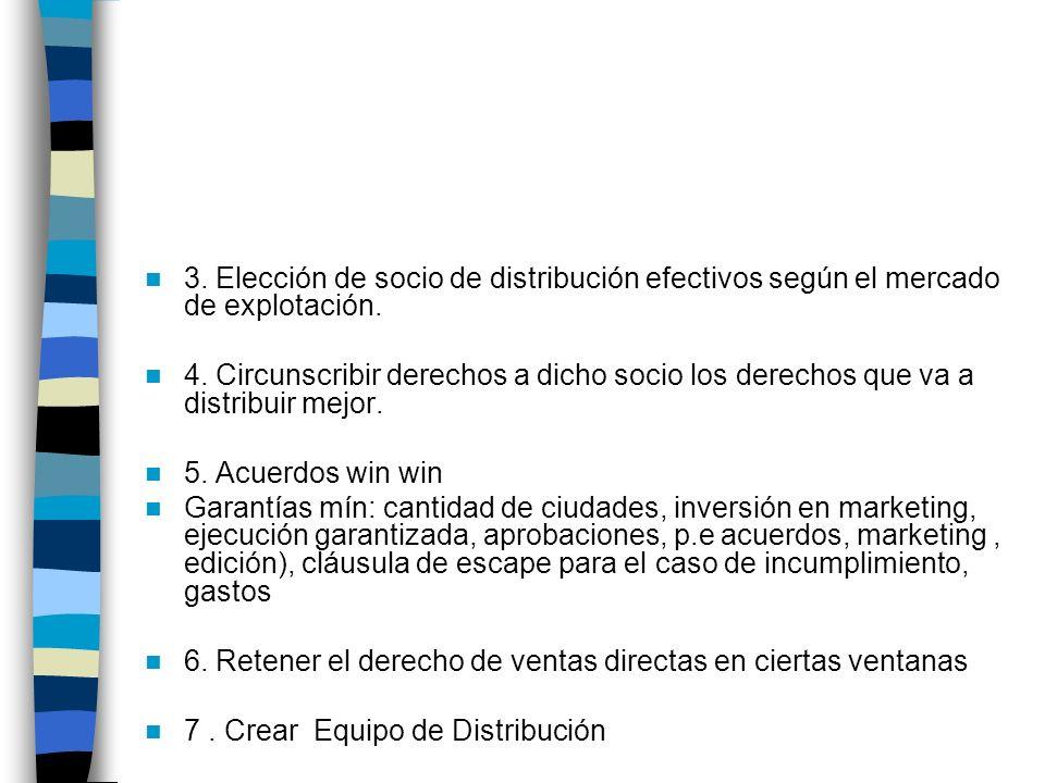 3. Elección de socio de distribución efectivos según el mercado de explotación. 4. Circunscribir derechos a dicho socio los derechos que va a distribu