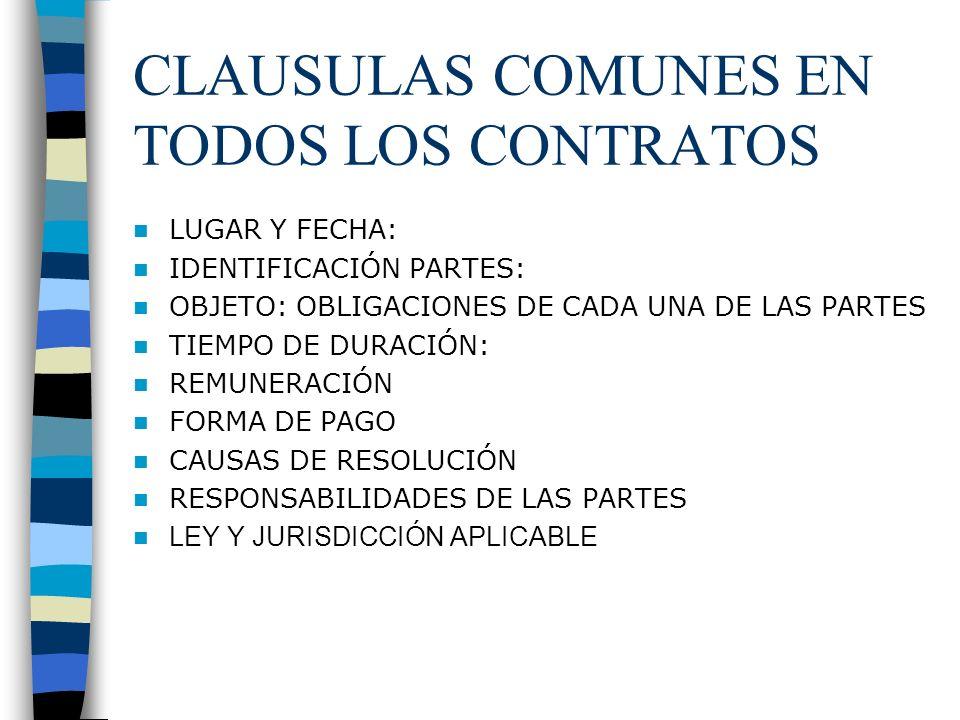CLAUSULAS COMUNES EN TODOS LOS CONTRATOS LUGAR Y FECHA: IDENTIFICACIÓN PARTES: OBJETO: OBLIGACIONES DE CADA UNA DE LAS PARTES TIEMPO DE DURACIÓN: REMU