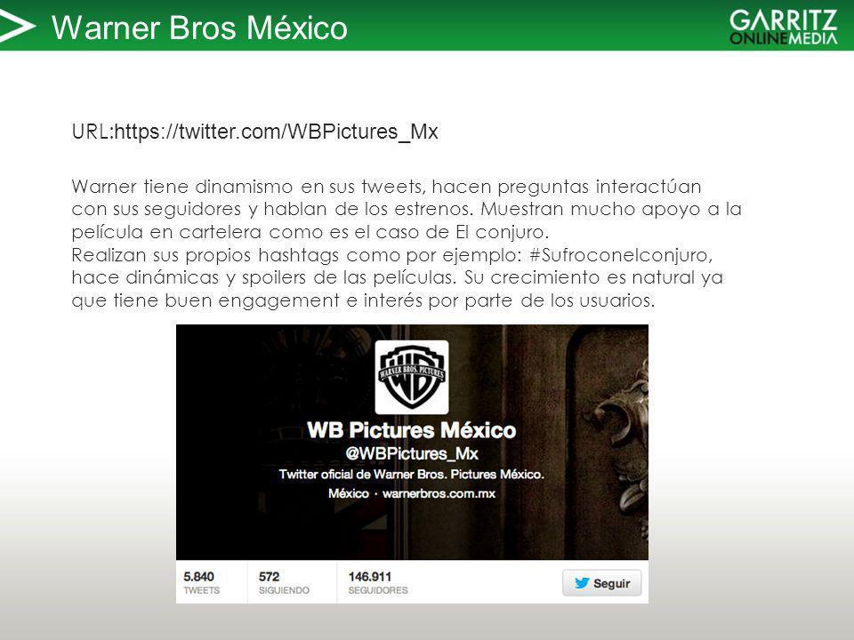 Warner Bros México URL: https://twitter.com/WBPictures_Mx Warner tiene dinamismo en sus tweets, hacen preguntas interactúan con sus seguidores y hablan de los estrenos.