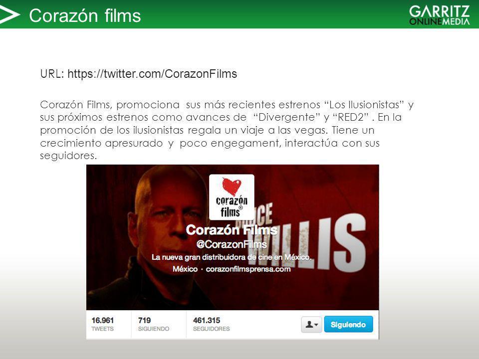 Corazón films URL: https://twitter.com/CorazonFilms Corazón Films, promociona sus más recientes estrenos Los Ilusionistas y sus próximos estrenos como avances de Divergente y RED2.