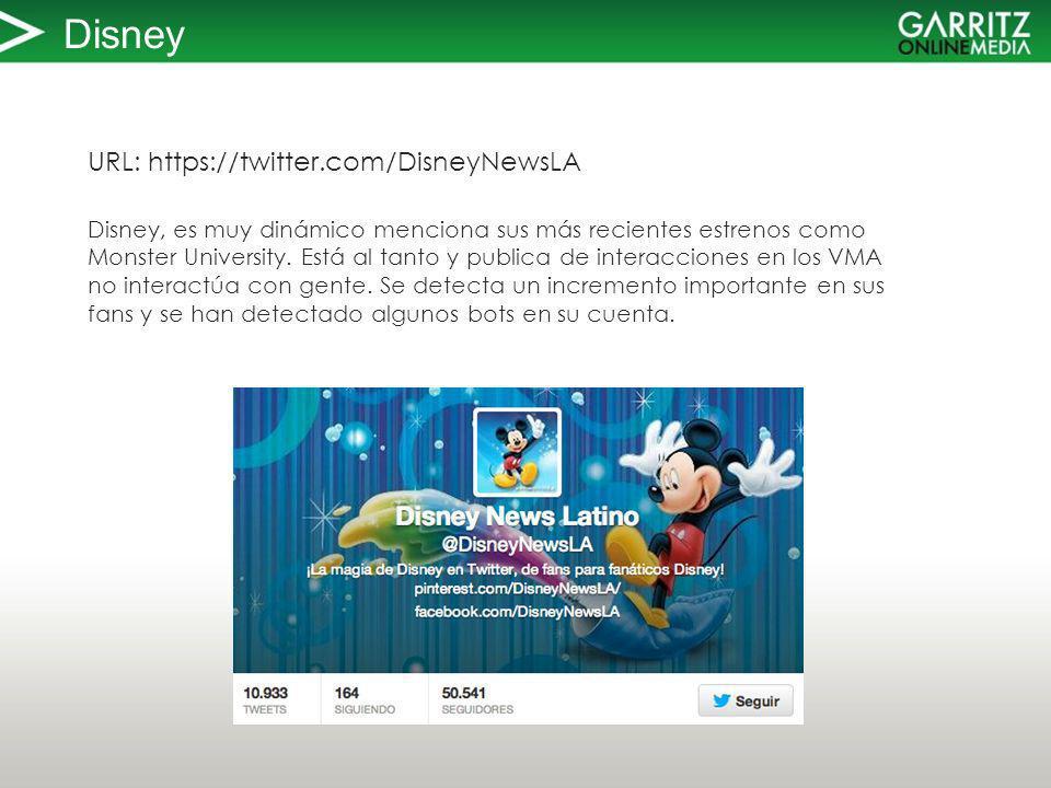 Disney URL: https://twitter.com/DisneyNewsLA Disney, es muy dinámico menciona sus más recientes estrenos como Monster University.