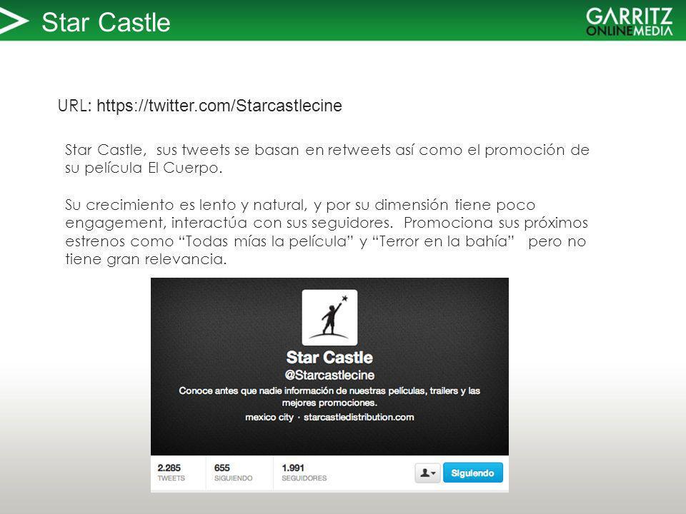 Star Castle URL: https://twitter.com/Starcastlecine Star Castle, sus tweets se basan en retweets así como el promoción de su película El Cuerpo.