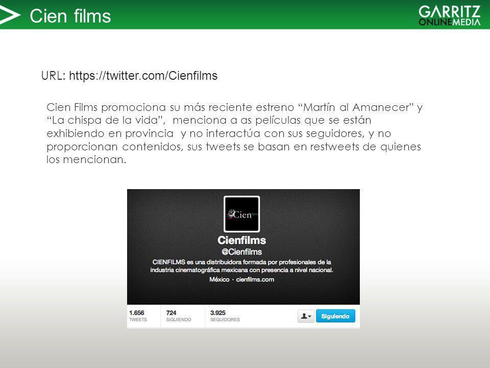 Cien films URL: https://twitter.com/Cienfilms Cien Films promociona su más reciente estreno Martín al Amanecer yLa chispa de la vida, menciona a as películas que se están exhibiendo en provincia y no interactúa con sus seguidores, y no proporcionan contenidos, sus tweets se basan en restweets de quienes los mencionan.