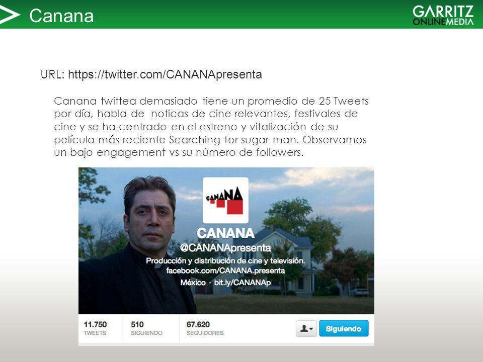 Canana URL: https://twitter.com/CANANApresenta Canana twittea demasiado tiene un promedio de 25 Tweets por día, habla de noticas de cine relevantes, festivales de cine y se ha centrado en el estreno y vitalización de su película más reciente Searching for sugar man.