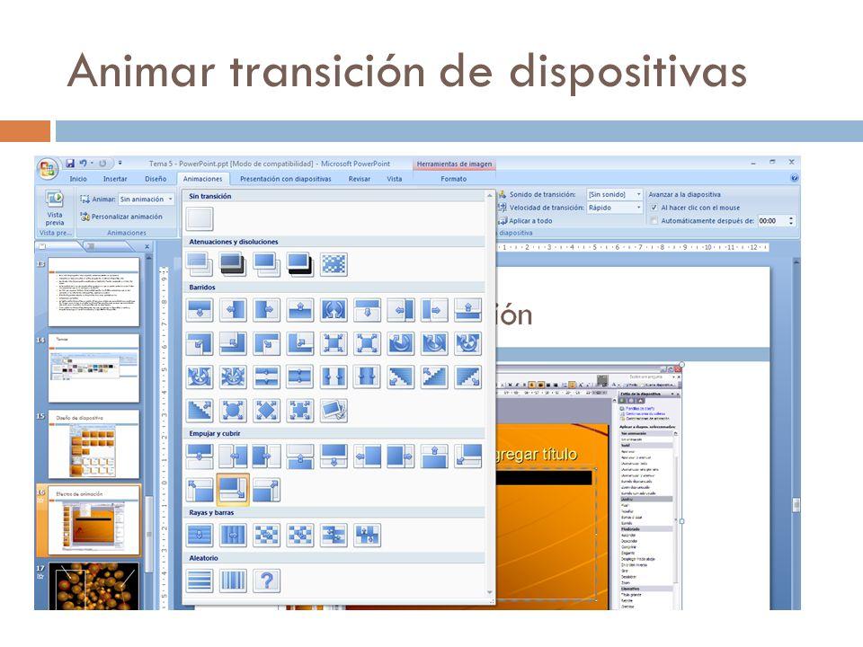 Animar transición de dispositivas
