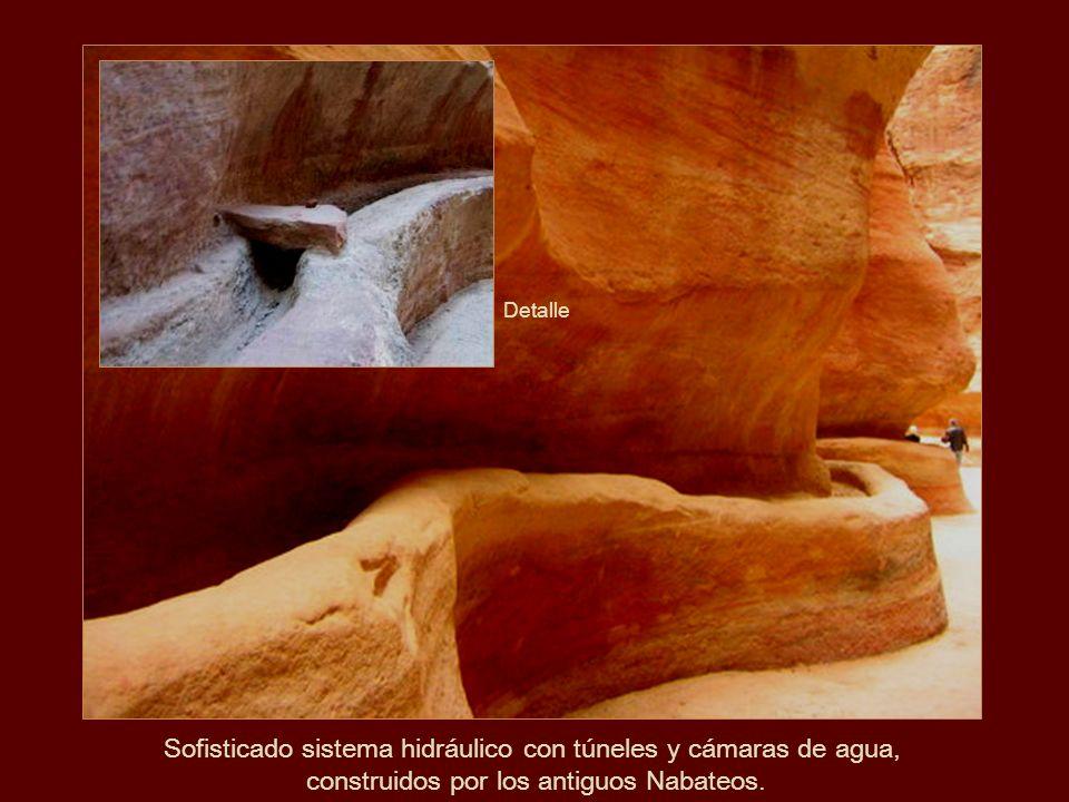 Detalle de las cavernas naturales en la rosada roca calcárea.