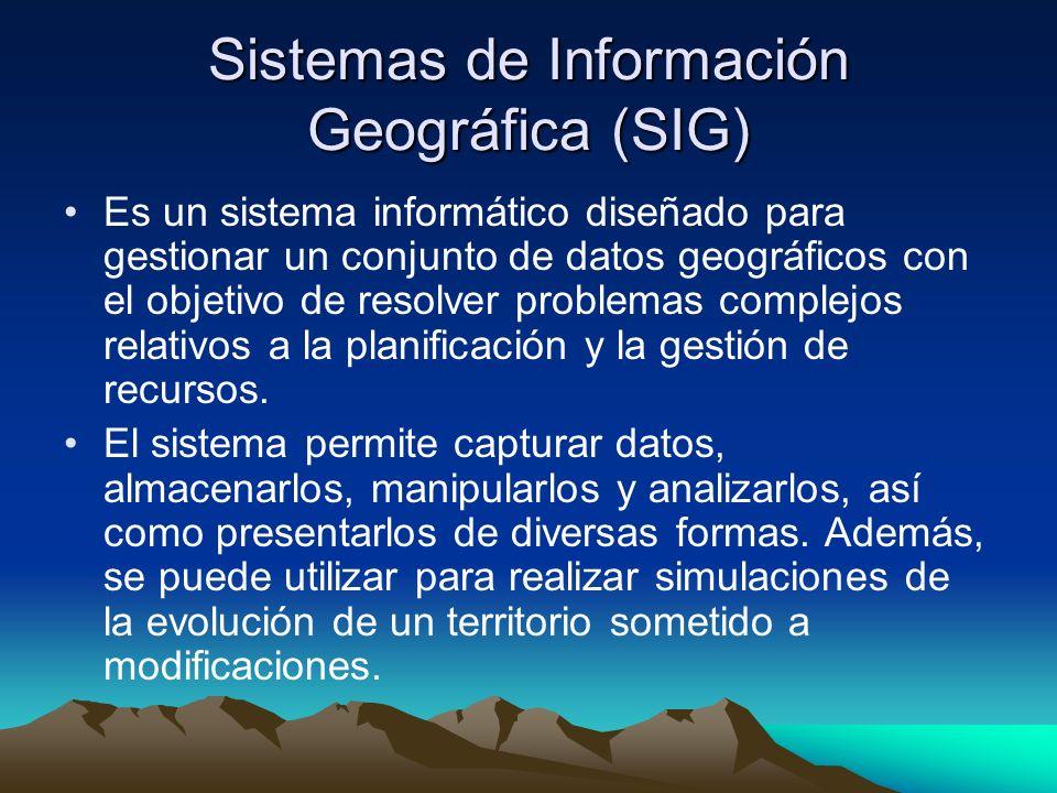 Sistemas de Información Geográfica (SIG) Es un sistema informático diseñado para gestionar un conjunto de datos geográficos con el objetivo de resolver problemas complejos relativos a la planificación y la gestión de recursos.