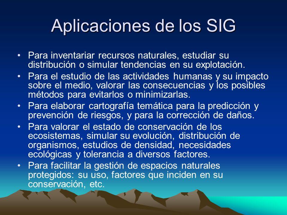 Aplicaciones de los SIG Para inventariar recursos naturales, estudiar su distribución o simular tendencias en su explotación. Para el estudio de las a