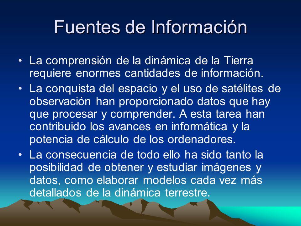 Fuentes de Información La comprensión de la dinámica de la Tierra requiere enormes cantidades de información. La conquista del espacio y el uso de sat
