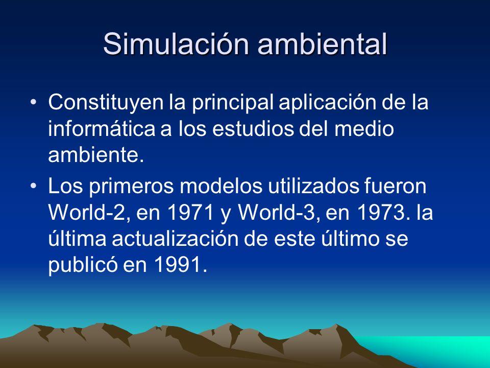 Simulación ambiental Constituyen la principal aplicación de la informática a los estudios del medio ambiente. Los primeros modelos utilizados fueron W