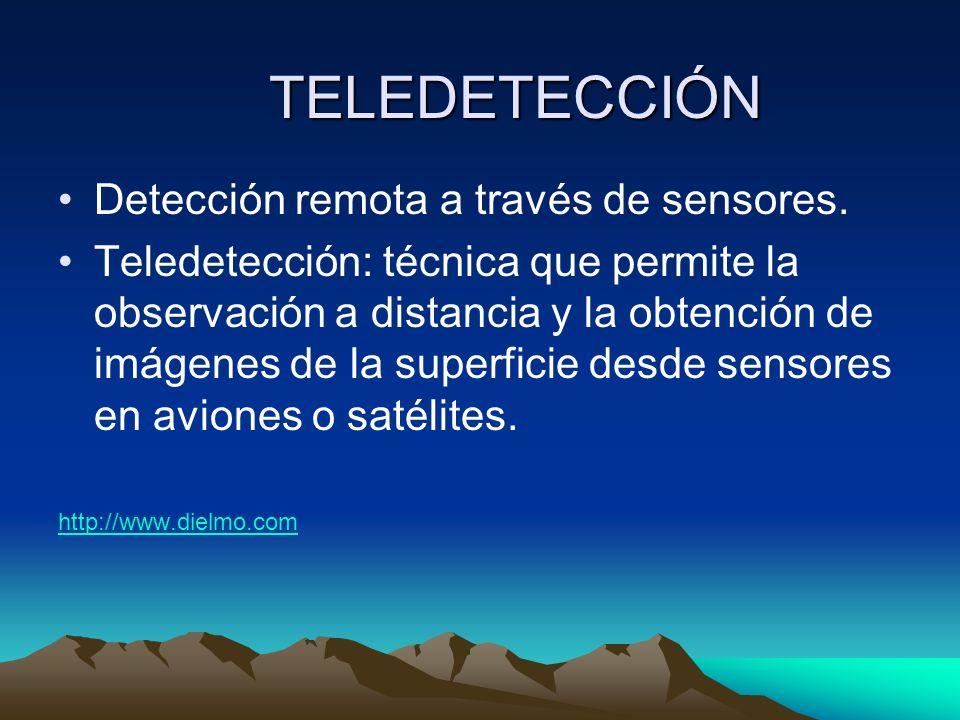 TELEDETECCIÓN Detección remota a través de sensores. Teledetección: técnica que permite la observación a distancia y la obtención de imágenes de la su