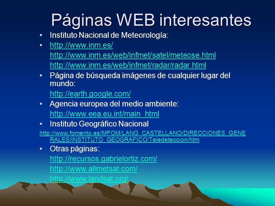 Páginas WEB interesantes Instituto Nacional de Meteorología: http://www.inm.es/ http://www.inm.es/web/infmet/satel/meteose.html http://www.inm.es/web/
