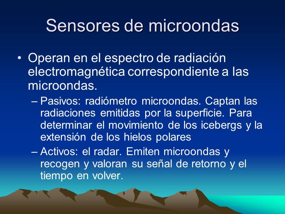 Sensores de microondas Operan en el espectro de radiación electromagnética correspondiente a las microondas. –Pasivos: radiómetro microondas. Captan l