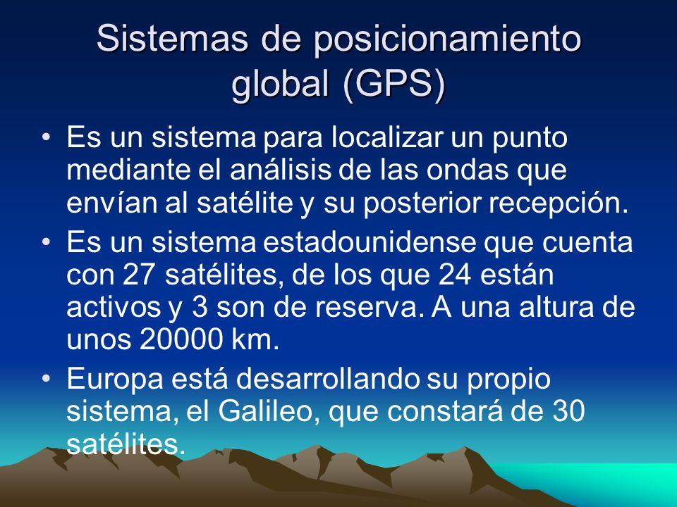 Sistemas de posicionamiento global (GPS) Es un sistema para localizar un punto mediante el análisis de las ondas que envían al satélite y su posterior recepción.