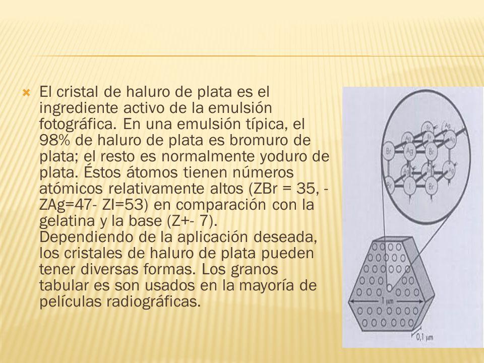 El cristal de haluro de plata es el ingrediente activo de la emulsión fotográfica. En una emulsión típica, el 98% de haluro de plata es bromuro de pla