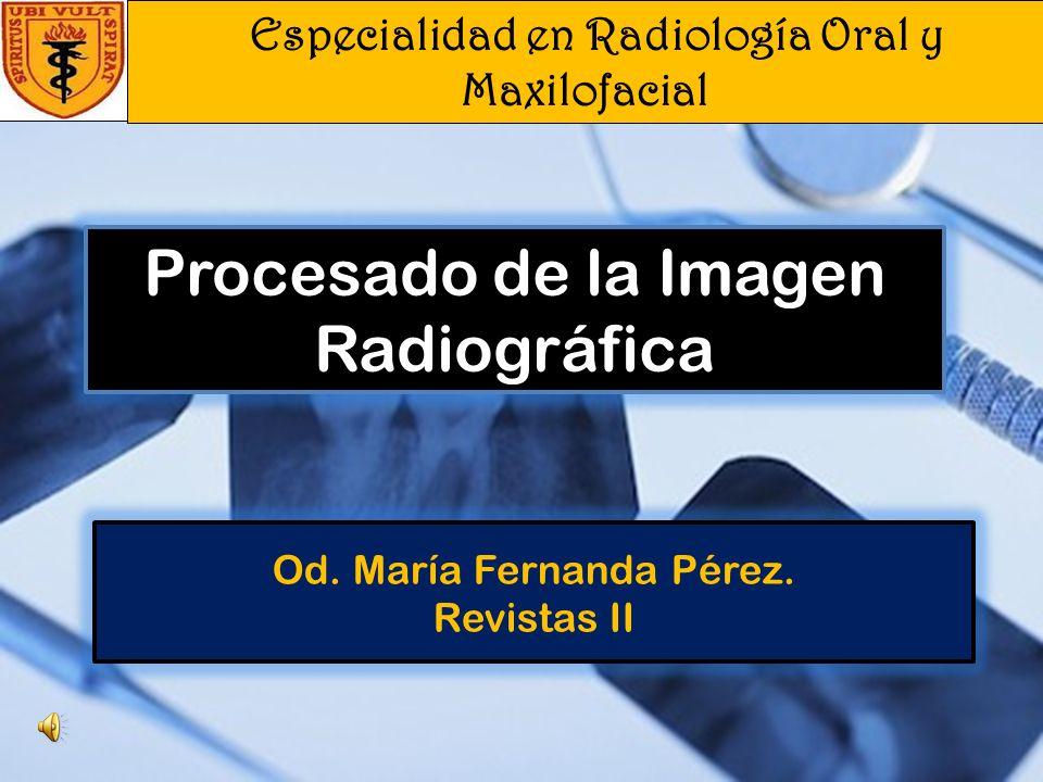 Especialidad en Radiología Oral y Maxilofacial Od.