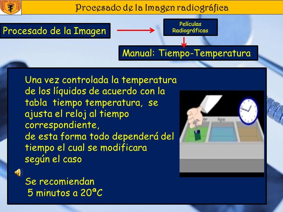 Procesado de la Imagen radiográfica Procesado de la Imagen Películas Radiográficas Manual: Tiempo-Temperatura Para este método se necesitan 3 elemento