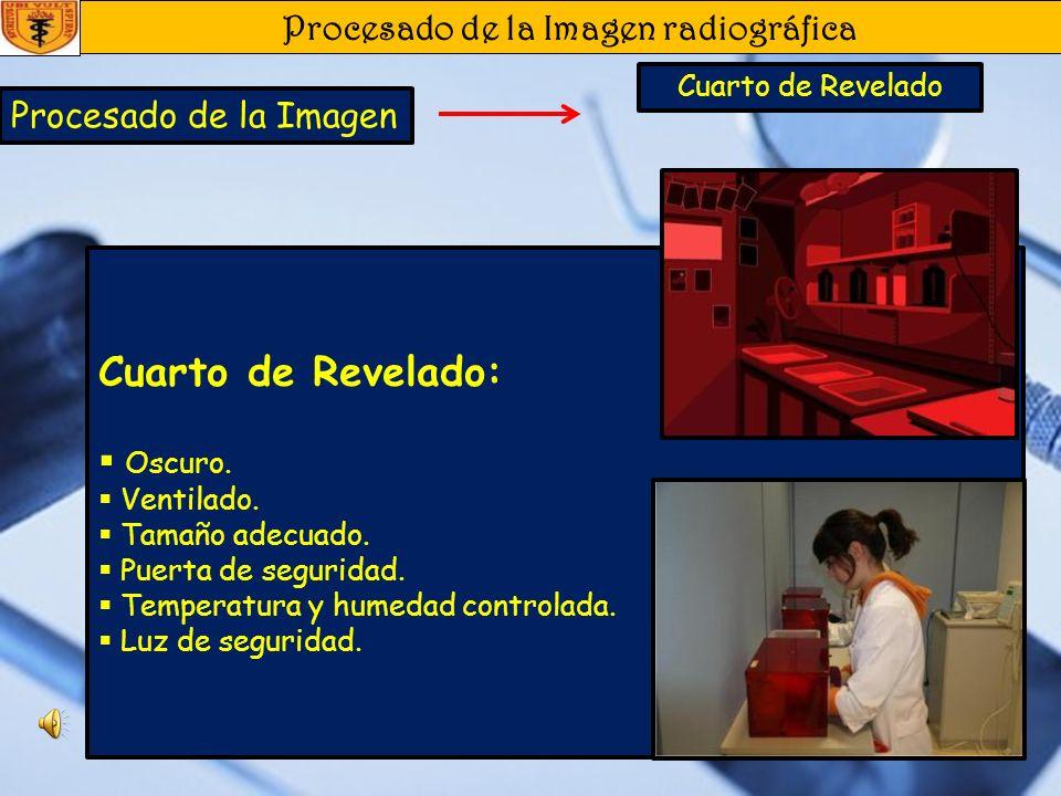 Procesado de la Imagen radiográfica Procesado de la Imagen Películas Radiográficas Manual: Tiempo-Temperatura Una vez controlada la temperatura de los