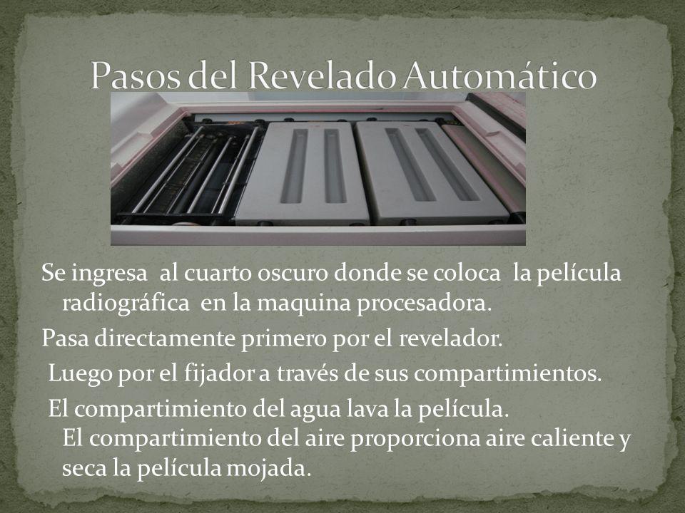 Las soluciones utilizadas para el procesamiento automático de las películas radiográficas, están constituidas por un líquido revelador, un líquido fijador y un liquido disolvente que es el agua.