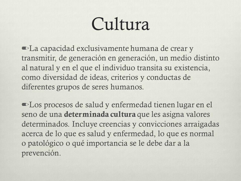 Cultura La capacidad exclusivamente humana de crear y transmitir, de generación en generación, un medio distinto al natural y en el que el individuo t