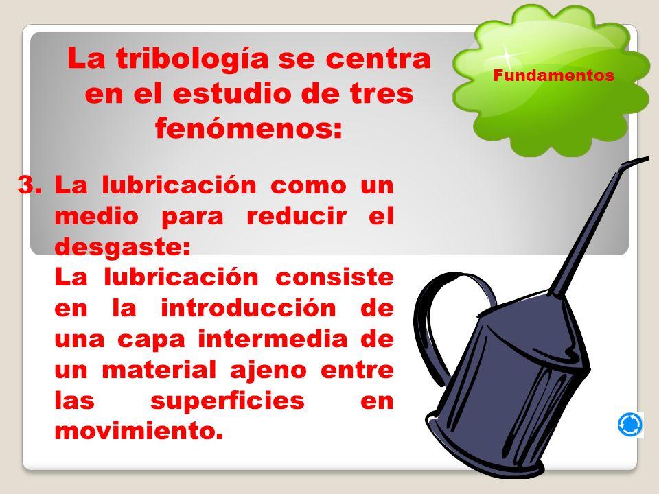La tribología se centra en el estudio de tres fenómenos: 3.La lubricación como un medio para reducir el desgaste: La lubricación consiste en la introducción de una capa intermedia de un material ajeno entre las superficies en movimiento.