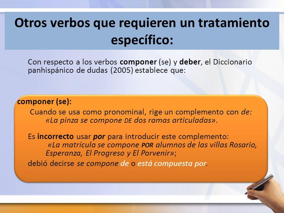 Otros verbos que requieren un tratamiento específico: Con respecto a los verbos componer (se) y deber, el Diccionario panhispánico de dudas (2005) est