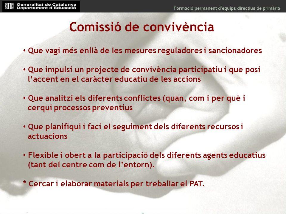 Comissió de convivència Que vagi més enllà de les mesures reguladores i sancionadores Que impulsi un projecte de convivència participatiu i que posi l