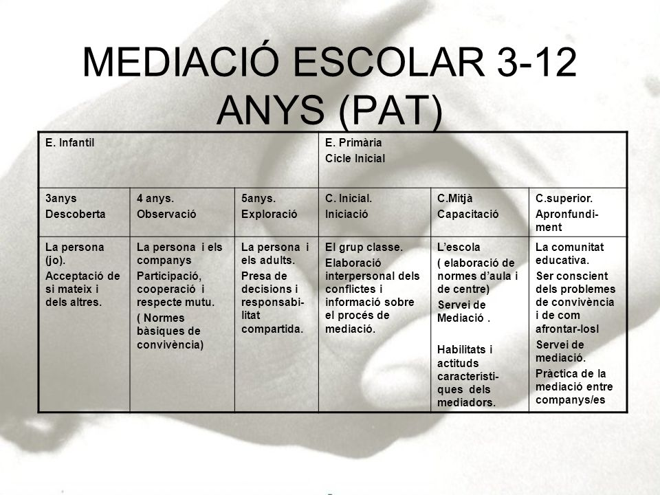 MEDIACIÓ ESCOLAR 3-12 ANYS (PAT) E. InfantilE. Primària Cicle Inicial 3anys Descoberta 4 anys. Observació 5anys. Exploració C. Inicial. Iniciació C.Mi