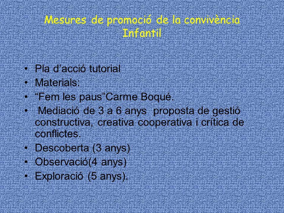 Mesures de promoció de la convivència Infantil Pla dacció tutorial Materials: Fem les pausCarme Boqué. Mediació de 3 a 6 anys proposta de gestió const