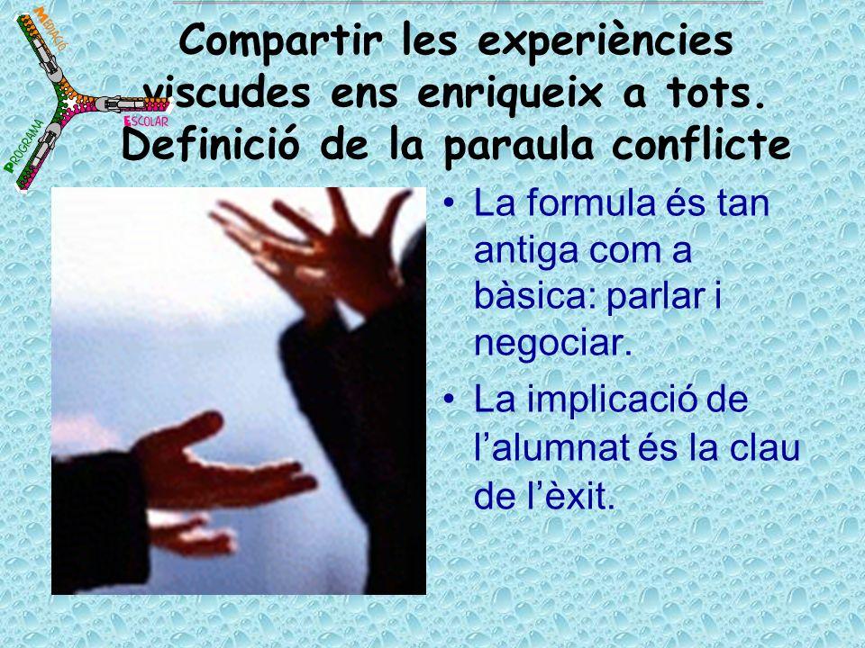 Compartir les experiències viscudes ens enriqueix a tots. Definició de la paraula conflicte La formula és tan antiga com a bàsica: parlar i negociar.