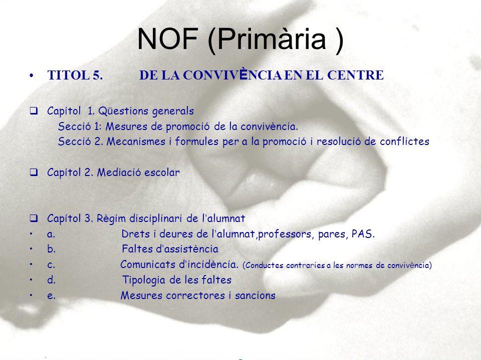 TITOL 5.DE LA CONVIV È NCIA EN EL CENTRE. (Treball cooperatiu) CAP Í TOL 1.