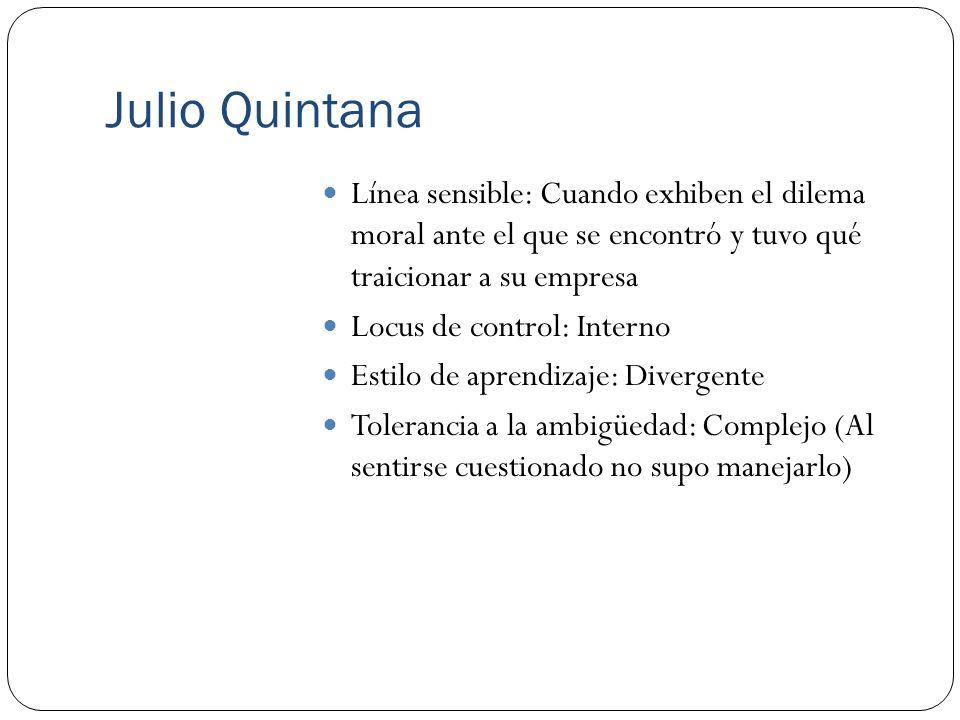 Julio Quintana Línea sensible: Cuando exhiben el dilema moral ante el que se encontró y tuvo qué traicionar a su empresa Locus de control: Interno Est