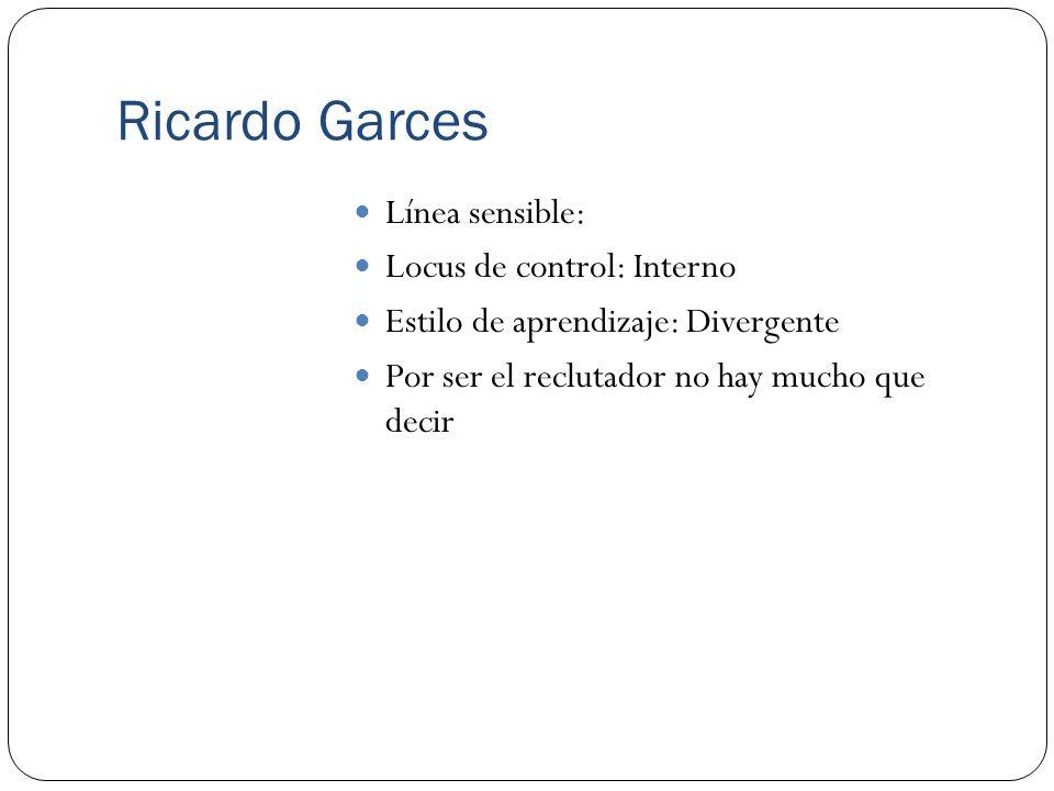 Ricardo Garces Línea sensible: Locus de control: Interno Estilo de aprendizaje: Divergente Por ser el reclutador no hay mucho que decir