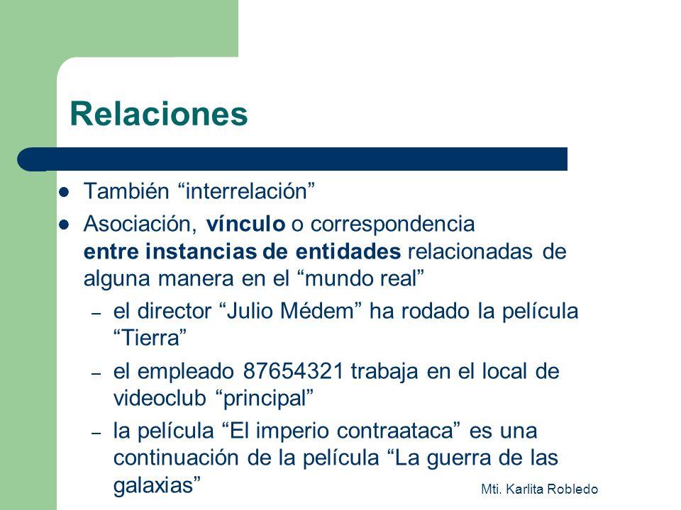 Mti. Karlita Robledo Relaciones También interrelación Asociación, vínculo o correspondencia entre instancias de entidades relacionadas de alguna maner