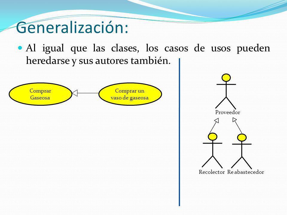 Generalización: Al igual que las clases, los casos de usos pueden heredarse y sus autores también. RecolectorRe abastecedor Proveedor Comprar Gaseosa