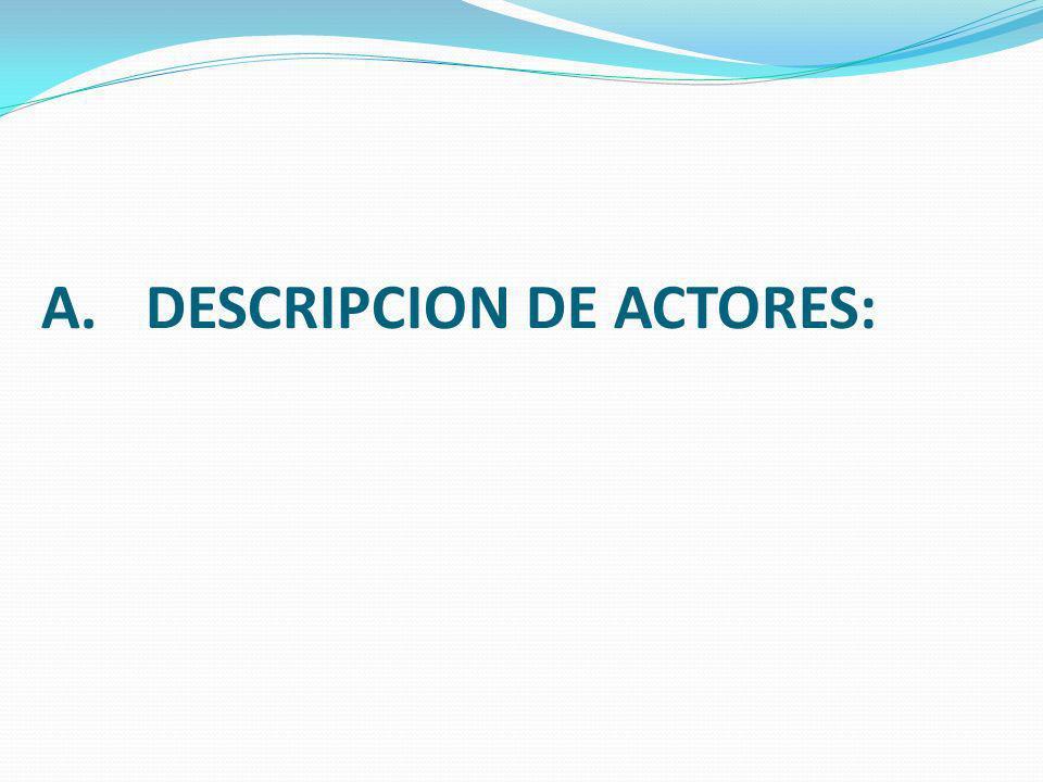 A.DESCRIPCION DE ACTORES: