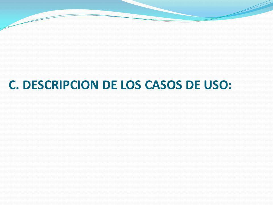 C. DESCRIPCION DE LOS CASOS DE USO: