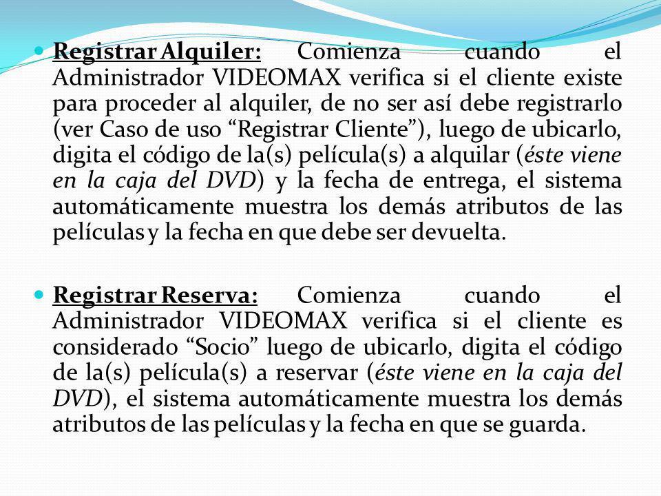 Registrar Alquiler: Comienza cuando el Administrador VIDEOMAX verifica si el cliente existe para proceder al alquiler, de no ser así debe registrarlo